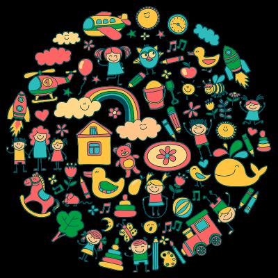 Psychomotorische therapie - tekening met verschillende kinderlijke plaatjes zoals speelgoed, regenbogen en dieren - Psychomotorische therapie